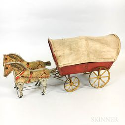 Painted and Lithographed Conestoga Wagon and Horses