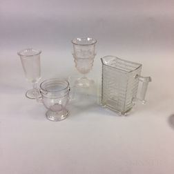 Four Pieces of Colorless Pattern Glass