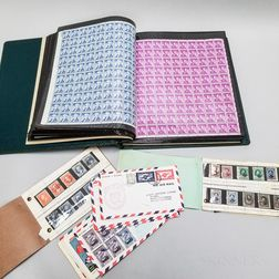 Extensive Collection of American and World Stamps, Blocks, and Sheets.     Estimate $400-600