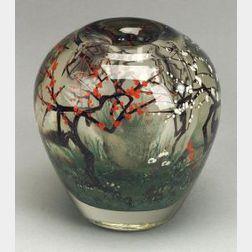 "Heilman-Roessler ""Spring Plum Series"" Art Glass Vase"