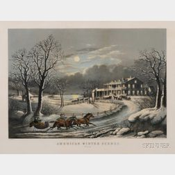Nathaniel Currier, publisher (American, 1813-1888)      American Winter Scenes.  Evening.