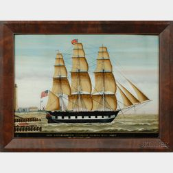 American School, 19th Century,      SHIP KONOHASSETT, J. FOSTER LEAVING THE PORT OF OSTEND, 1843.