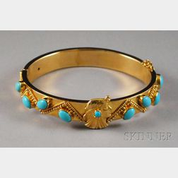 14kt Gold, Gilt Silver, and Turquoise Art Nouveau-style Bangle