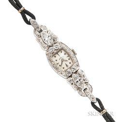 Platinum and Diamond Wristwatch, Hamilton