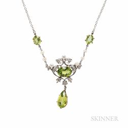 Edwardian Peridot, Diamond, and Pearl Necklace