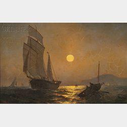 Julian Oliver Davidson (American, 1853-1894)      Moonlight, Cape La Heve, France