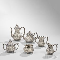 Six-piece Baltimore Rose   Pattern Sterling Silver Tea and Coffee Service