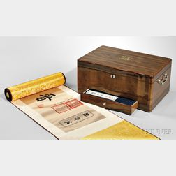 Three Chinese Scrolls in a Wooden Presentation Box
