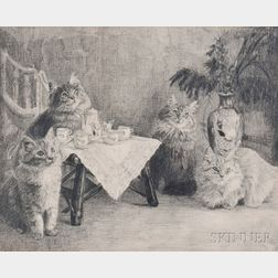 American School, Early 20th Century      Kitty Cat Tea Party
