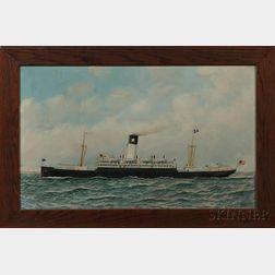 Antonio Nicolo Gasparo Jacobsen (New York/New Jersey/Denmark, 1850-1921)      Portrait of the Steamship Antilles