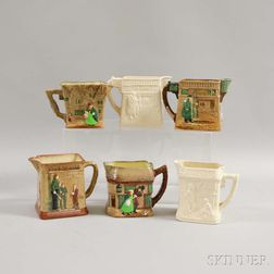 Six Royal Doulton Molded Ceramic Series Ware Jugs