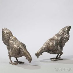 Pair of Silvered Figures of Chickens
