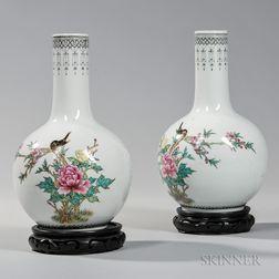 Pair of Enameled Porcelain Vases