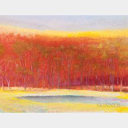 Wolf Kahn (German/American, b. 1927)      Pond in a Red Landscape