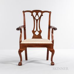 Chippendale Carved Walnut Armchair