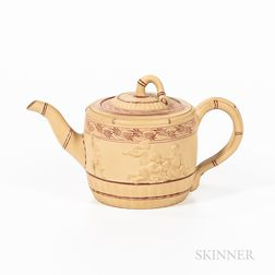 Wedgwood Encaustic-decorated Caneware Teapot and Cover