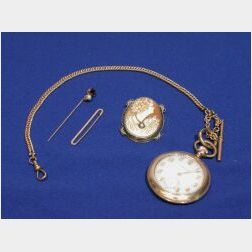 Admiral Openface Pocketwatch, Cameo Brooch and a Pearl and Red-stone Stick Pin.