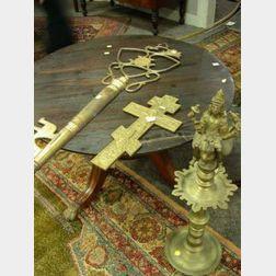 Russian Brass Crucifix, an Ornamental Brass Key and an Indian Bronze Lamp.