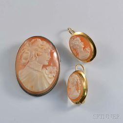 Cameo Brooch and Pair of Earrings