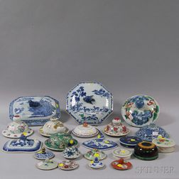 Twenty-three Chinese Glazed Ceramic Lids, Tops, and Covers