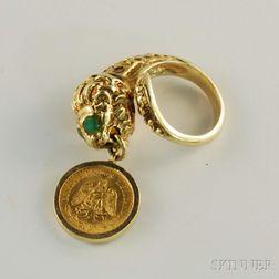 14kt Gold Gem-set Lion Ring