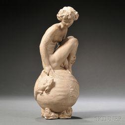 Doulton Lambeth Brown Stoneware Model of The Bather