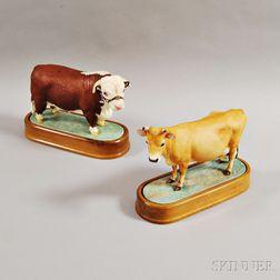 Two Royal Worcester Doris Lindner Porcelain Cows