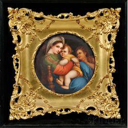 Framed German Porcelain Plate Depicting the Madonna della Sedia