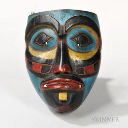 Bella Coola Polychrome Carved Wood Mask