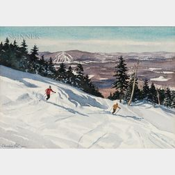 Churchill Ettinger (American, 1903-1984)      Two Stratton Mountain Views:  Try the Rimeline