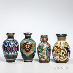 Four Gouda Pottery Vases