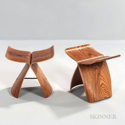 Two Sori Yanagi Butterfly Stools