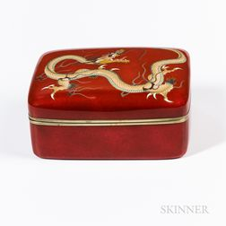 Red Ginbari Cloisonné Box and Cover