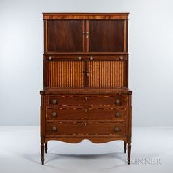 Federal Carved and Inlaid Mahogany Double Tambour Desk