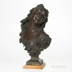 Jean-Baptiste Carpeaux (French, 1827-1875)       Bronze Bust of a Laughing Maiden/Bacchante aux Roses