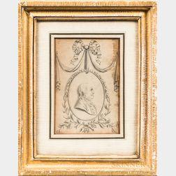 American School, Late 18th Century      Profile Portrait Bust, Possibly Benjamin Franklin