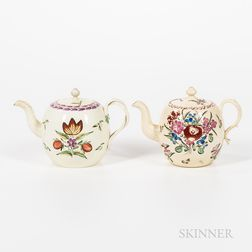 Two Enamel-decorated Creamware Teapots and Covers