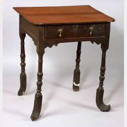 William and Mary Style Oak Side Table