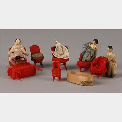 Seven Tiny Wooden Grodnertal Dolls with Red Wool Pin Furniture