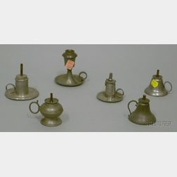 Six Small Pewter Hand Lamps