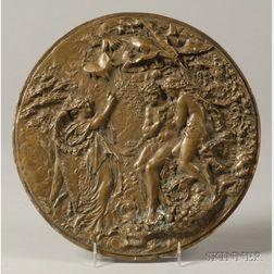 Bronze Plaque of Adam and Eve in the Garden of Eden