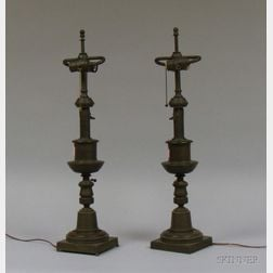 Pair of Classical Patinated Bronze Astral Lamps