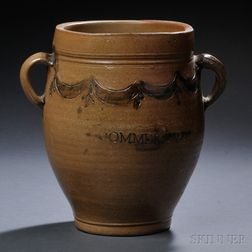 """COMMERAWS STONEWARE"" Jar with Incised Cobalt Decoration"