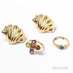 14kt Gold Earrings and Two 14kt Gold Gem-set Rings