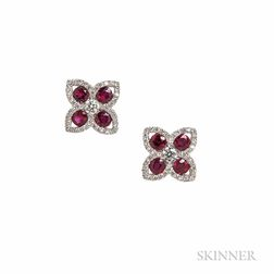 18kt White Gold and Ruby Earrings