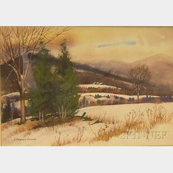 Framed Watercolor on Paper/board Landscape, Winter Fields and Farm