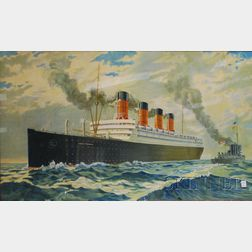 Framed Chromolithograph of the Ocean Liner RMS Aquitania   of the Cunard