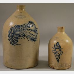 Two Cobalt Floral Decorated Stoneware Jugs
