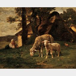 Charles Emile Jacque  (French, 1813-1894)      View of a Shepherdess Watching a Grazing Ewe and Lamb at Pasture