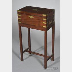 Brass-bound Mahogany Lap Desk on Stand